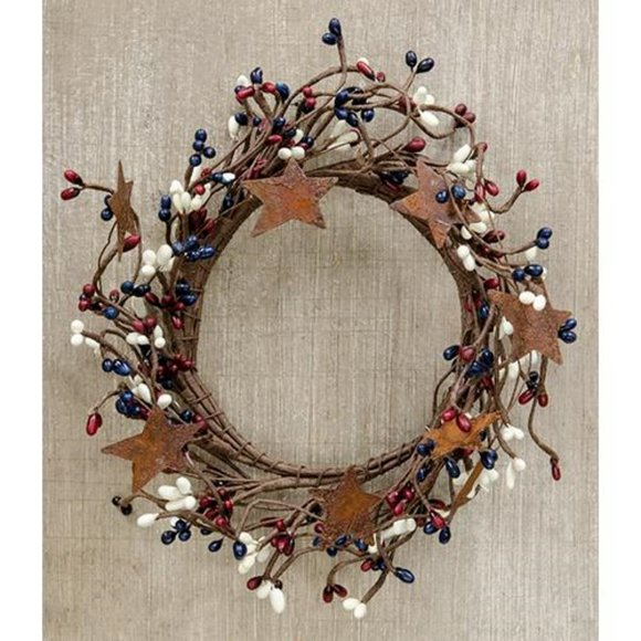 """Americana Mix Pip Berry With Stars 8"""" Small Wreath"""